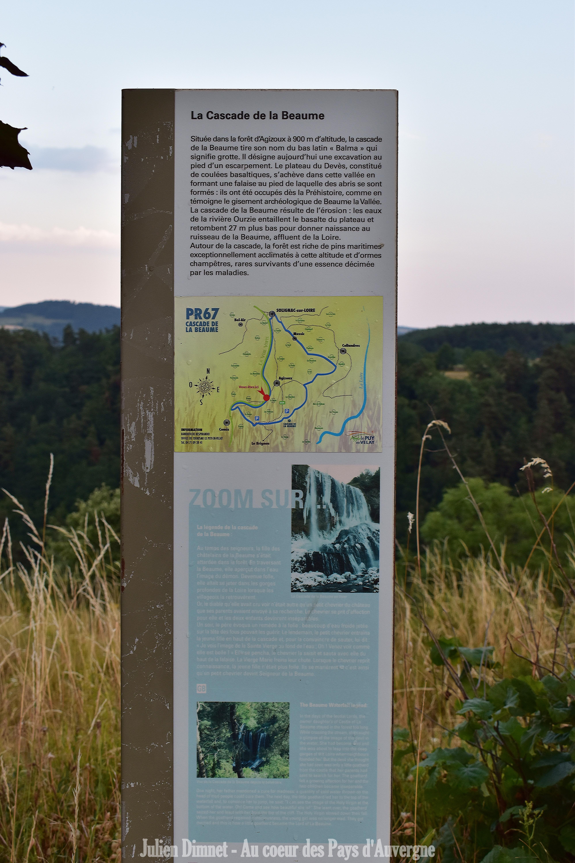 Cascade de la Beaume – panneau d'information