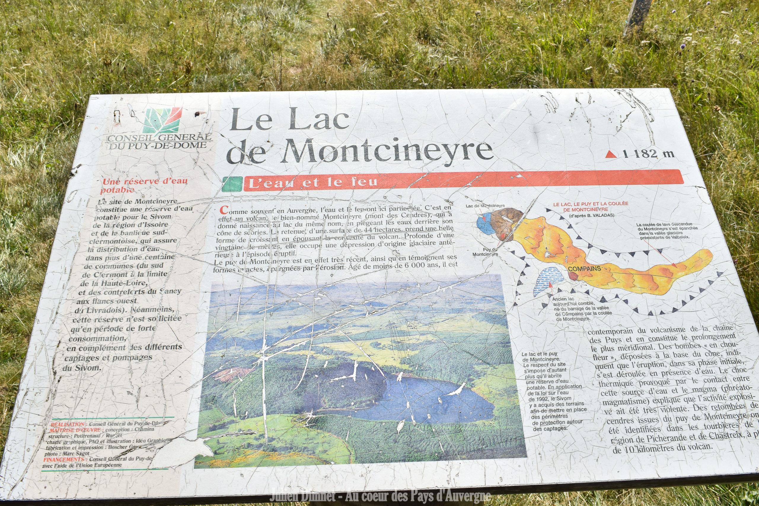 Lac de Montcineyre – 21 aout 2017 – panneau touristique